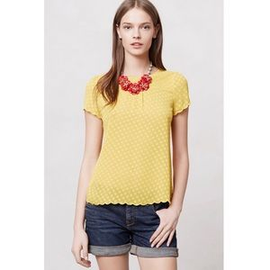Anthropologie Maeve Yellow Solid Scalloped Blouse